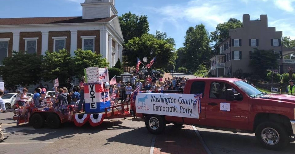 WCDP Float in the Jonesborough Days Parade - Walkers organized by Washington County TN Democratic Party