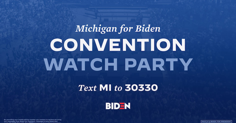 Michigan VIRTUAL Watch Party of Democratic Convention @ Vitural Watch Party